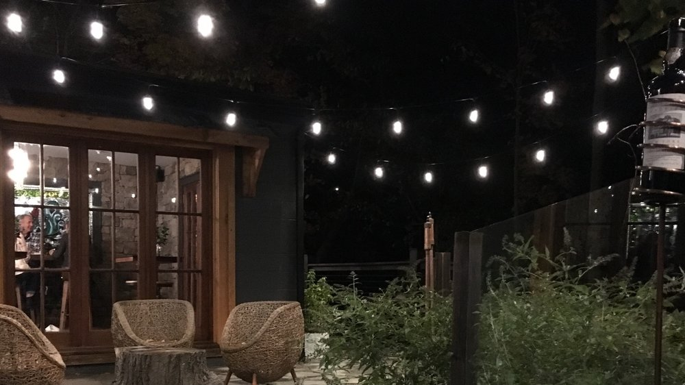 The Garden View patio at night...