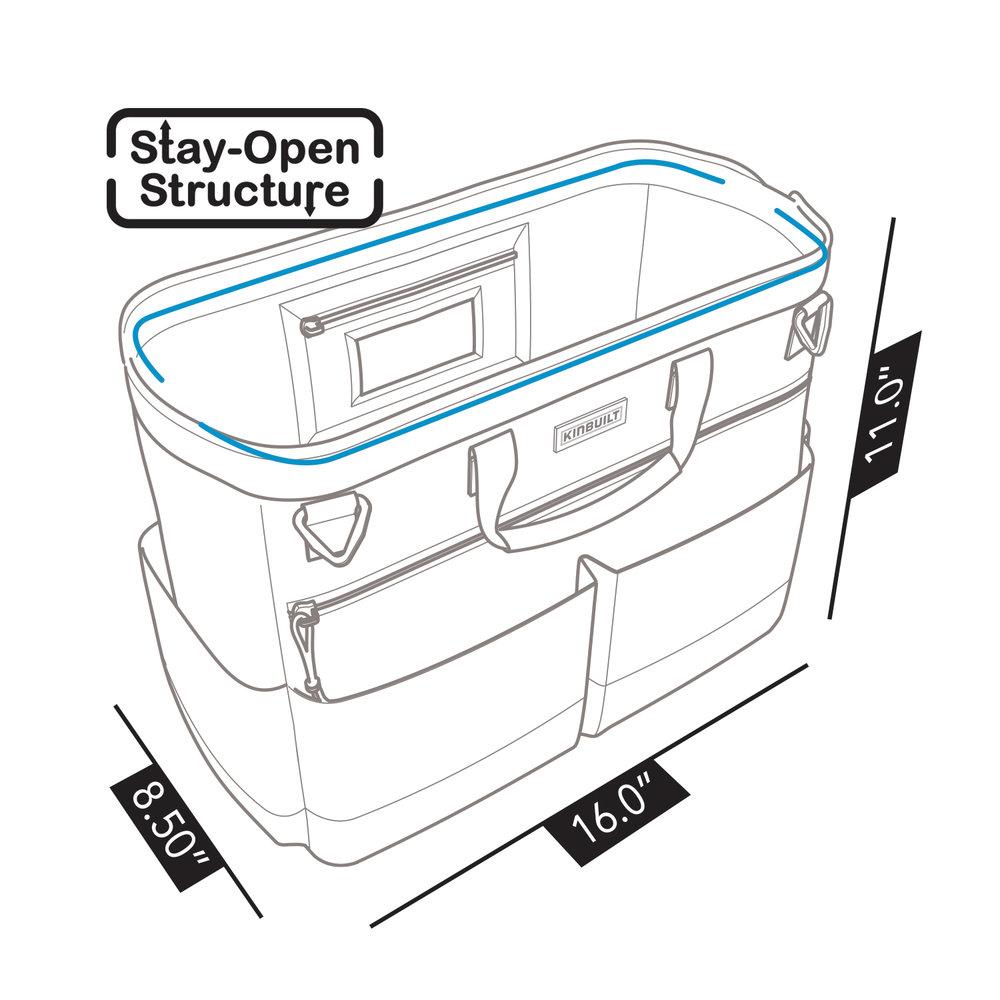 KINBUILT Diaper Bag - Overall Bag Dimensions