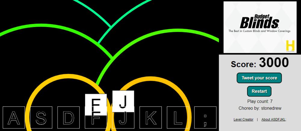 a screenshot a level Drew designed:   https://albert.github.io/asdfjklsemi/?v=_GXL7e_1ybw&choreo=73928470443512200