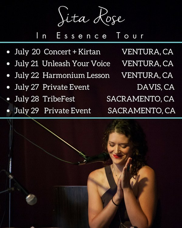 In Essence 'mini tour' dates announced 🎶✨💖 . First stop in Ventura next weekend July 20-22, Then up to Sacramento and the surrounding areas.  Want to meet up? Check out the schedule . . . Fri July 20 | Concert & Kirtan • Ventura CA  Sat July 21 | Unleash Your Voice Workshop • Ventura, CA Sun July 22 | Learn to play the Harmonium Workshop • Ventura CA  Fri July 27 | Private Workshop • Davis CA  Sat July 28 | TRIBEFEST • Sacramento CA  Sun July 29 | Private Workshop • Sacramento CA . . If you or anyone you know is interested in booking private lessons in the area, I am opening up private bookings along the way in LA, Ventura, and Sacramento.  Email sitarosemusic@gmail.com • I'll return to San Diego to offer a special • In Essence • Concert Sunday, 2-4pm Sept 2 @pilgrimageyoga featuring special musical guests ✨💖✨ @mandigee.yoga @sarahmimi299 @teejmess . . Hope to see or meet you. 💕 . . @thespacevta @ventura.pop.up.yoga @classyhippieteaco . . . #makeeverythingsacred #sitarosetour #magic #music #tour #consciousness #yogamusic #losangelesyoga #sacramentoyoga #ventura #bhakti #kirtan #artist #love #gratitude