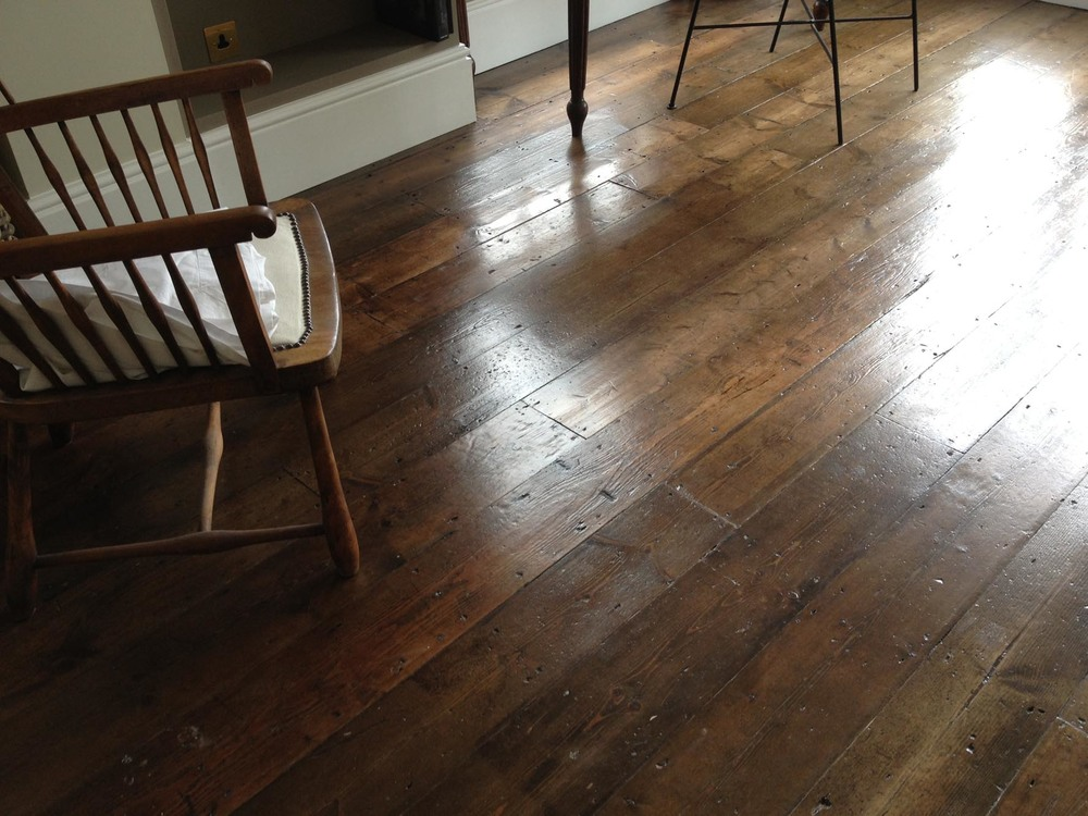 hand finished reclaimed victorian pine floor