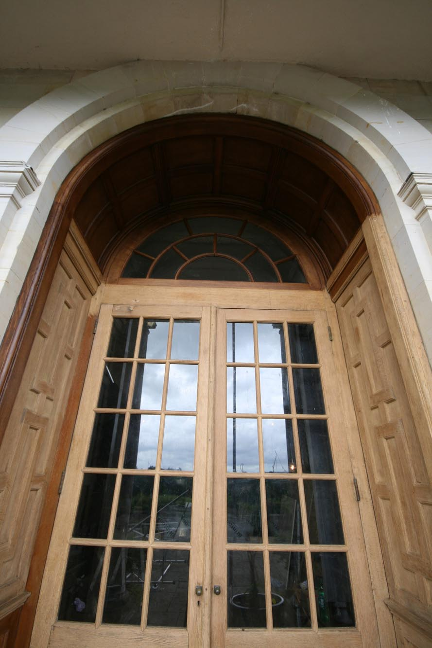 Oak Terrace double doors during restoration