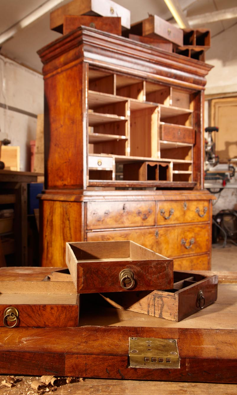 18th century walnut bureau restoration East Sussex