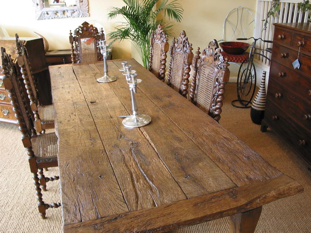 8ft reclaimed oak refectory table and chairs