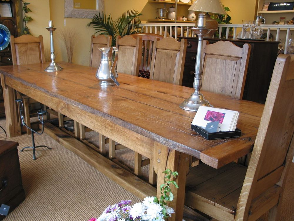 country style large oak dining table made in sussex
