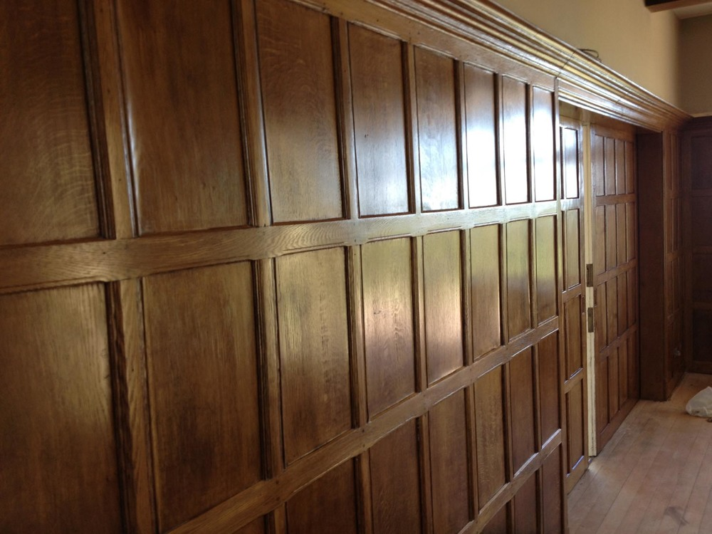 The restored oak panelling after restoration