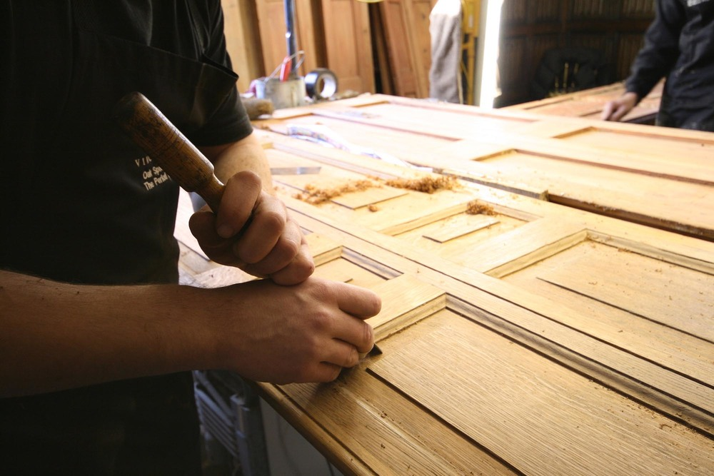 Restoring 18th century oak window shutters at groombridge place in kent