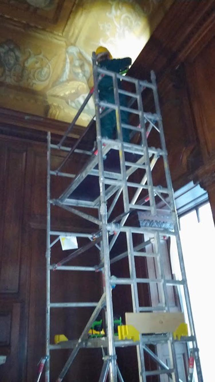 Using a tower during the panelling restoration project at Kensington Palace London