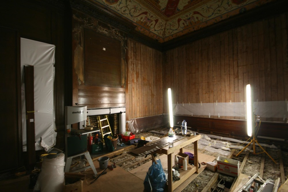 The Presence Chamber at Kensington Palace during the restoration project of the Kings state apartments