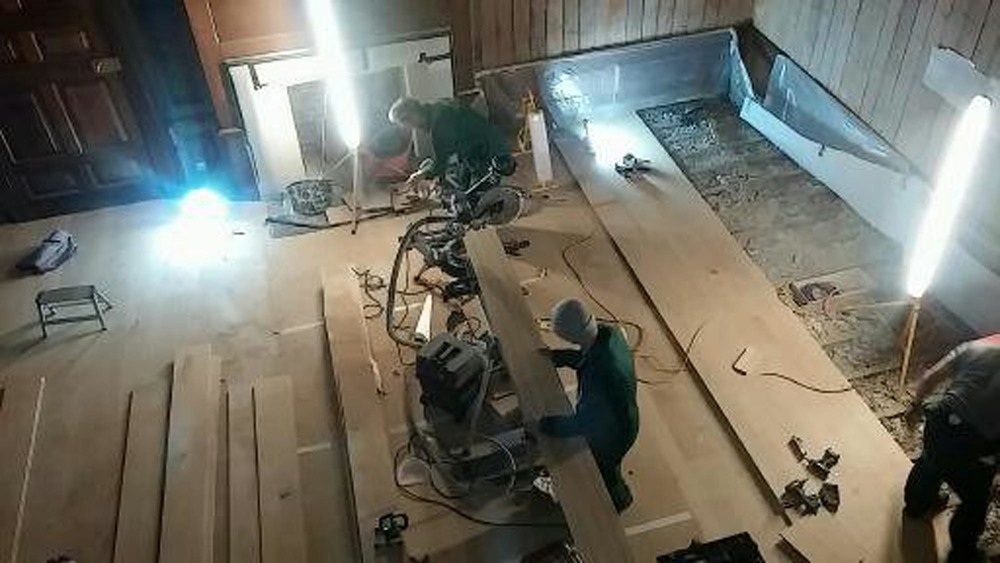 Laying an oak floor in the Presence Chamber at Kensington Palace London