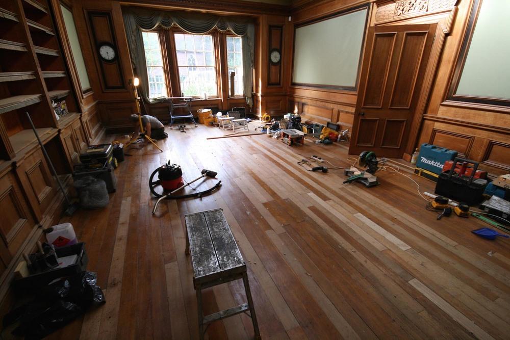 oak floor restoration with boards reinstated