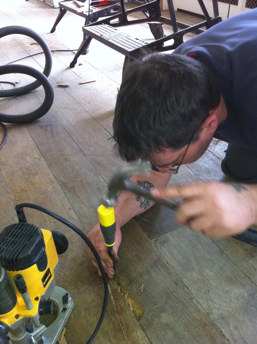 Carefully repairing an oak floor in Sussex