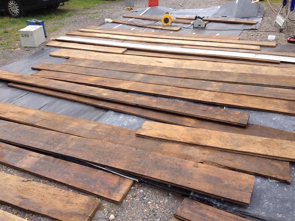 18th century oak reclaimed oak flooring before leaving the workshop in Sussex