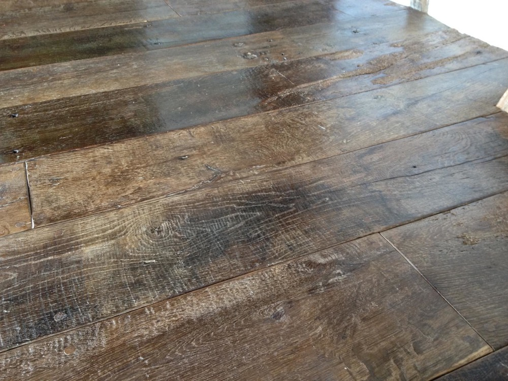 Reclaimed oak flooring with character