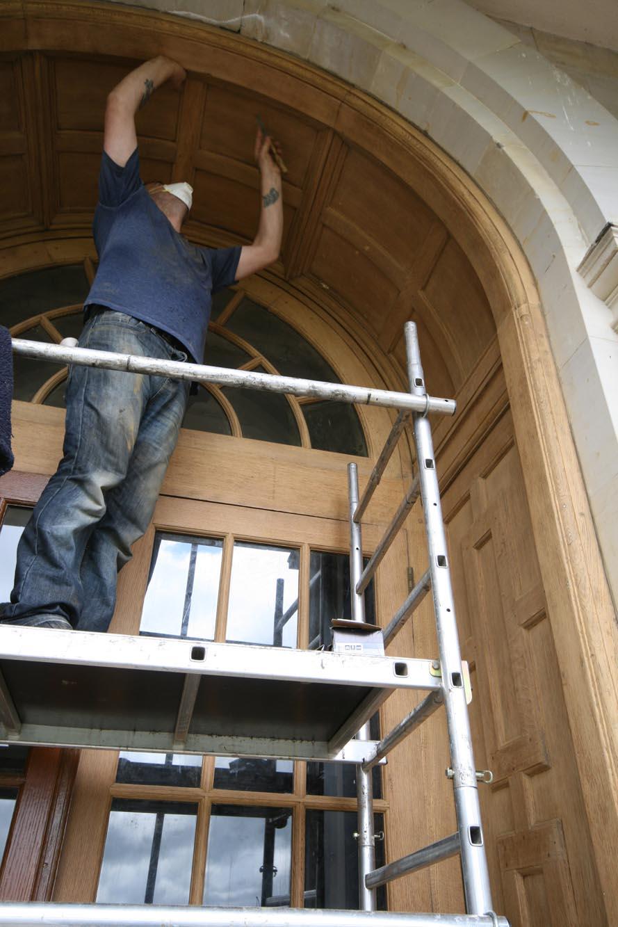 Restoring an oak glazed door using a tower