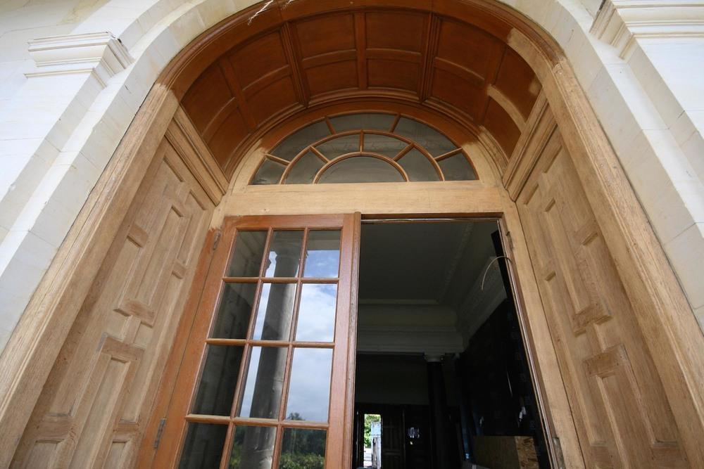 An oak terrace door during restoration surrey