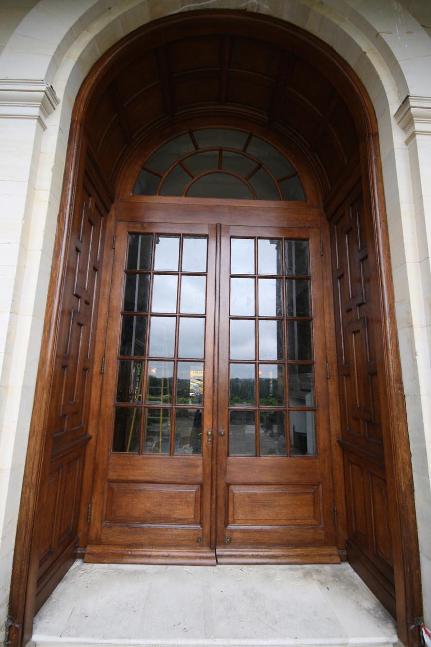 A restored oak panelled terrace door in sussex