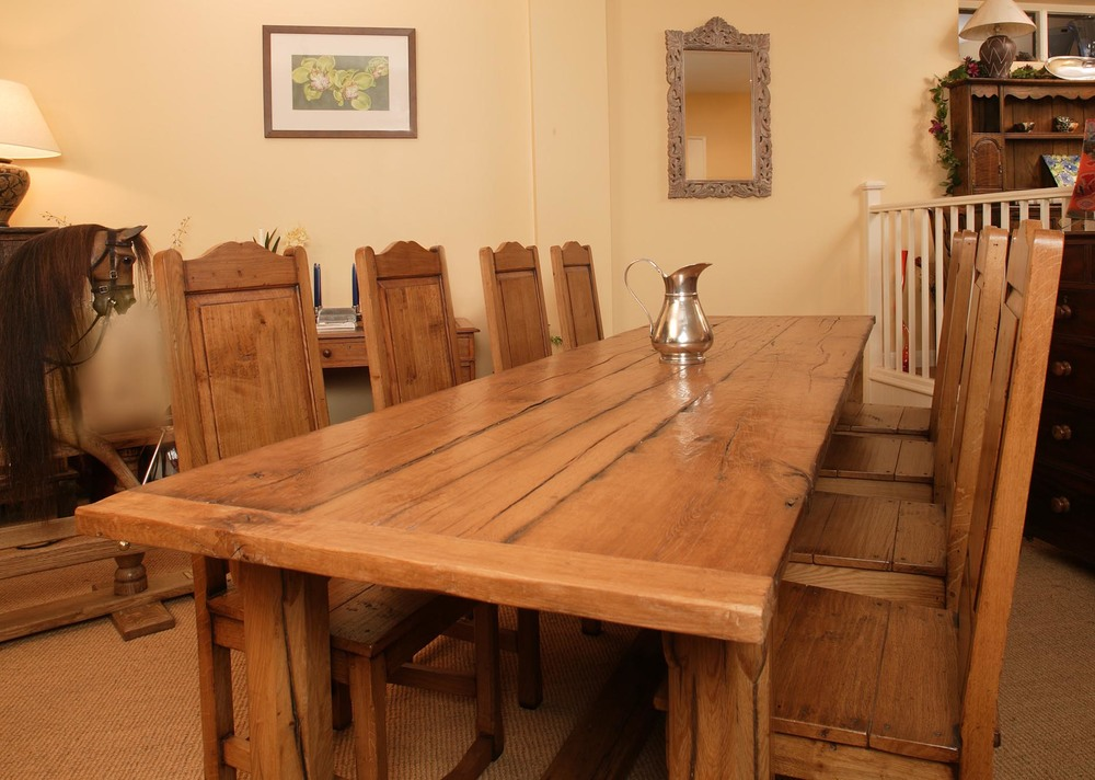 a 10ft handmade oak refectory table and chairs made in our workshop in robertsbridge in sussex