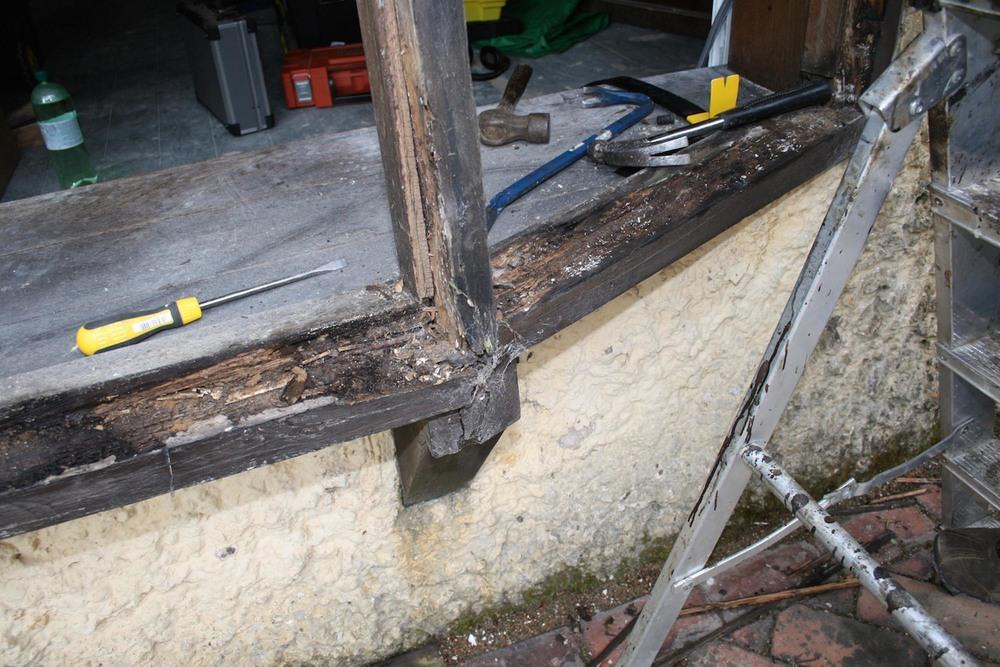 Damage caused by wet rot on an oak bay window