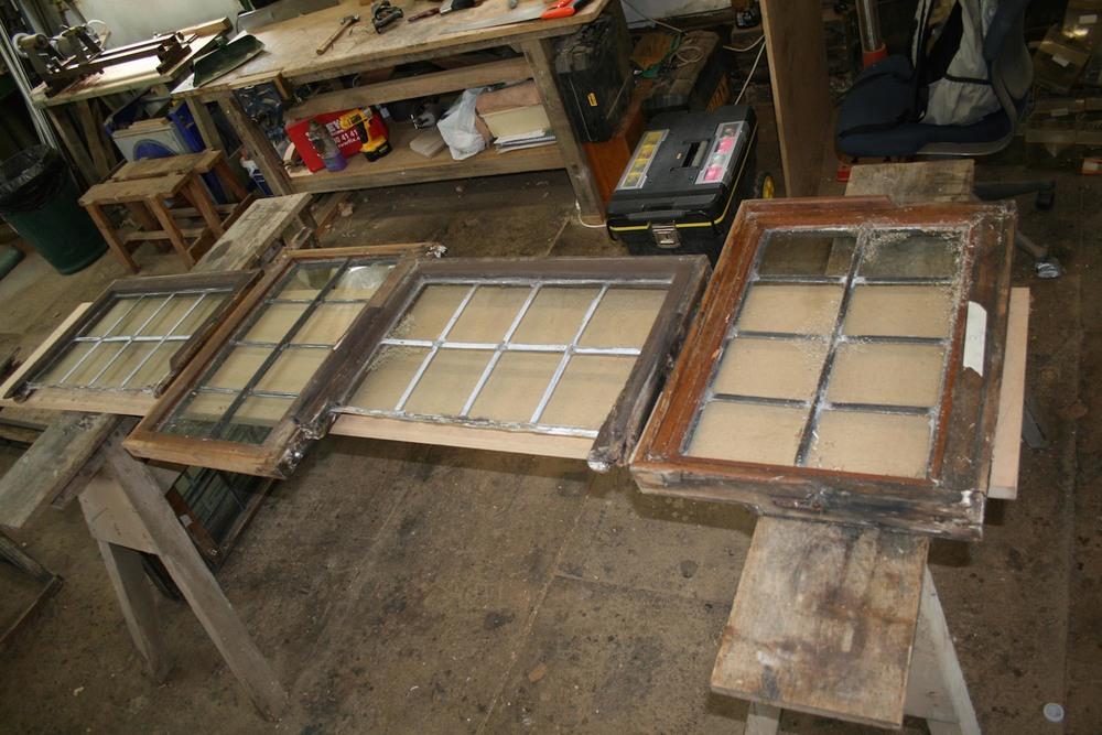 restoring leaded light window frames in our workshop in robertsbridge sussex