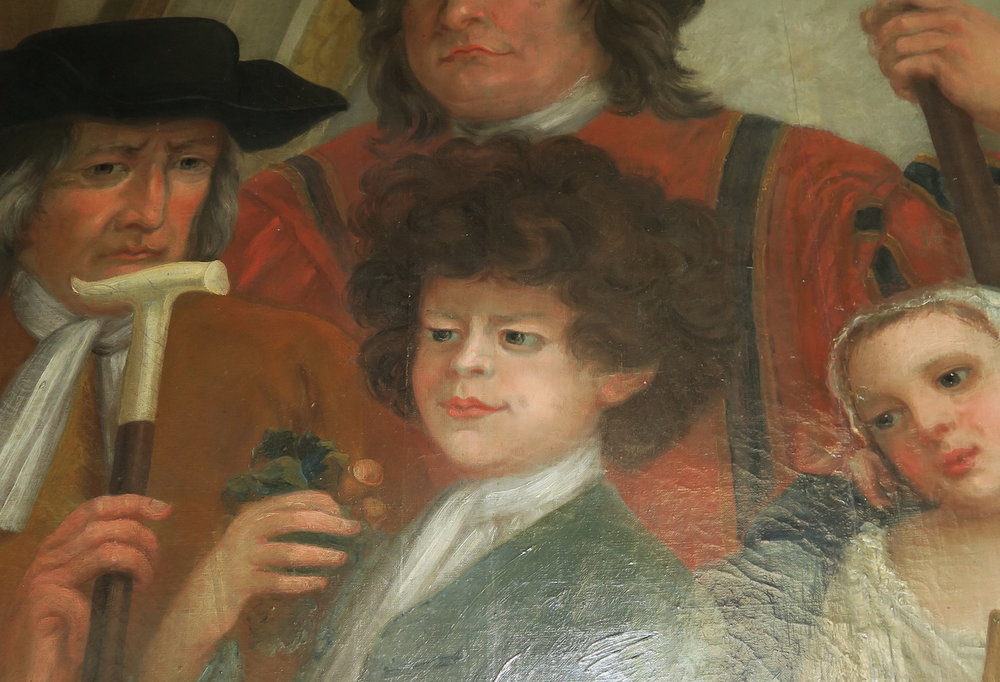 Peter the Wild Boy featured in William Kent's' vivid recreation of George I's court painted on the walls of The King's Staircase at Kensington Palace