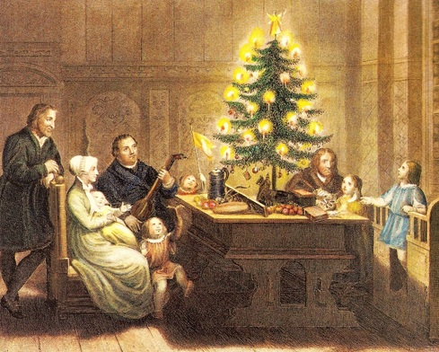 Martin Luther and his Family with their Christmas Tree 1536 - From                                                  Sartain's Magazine