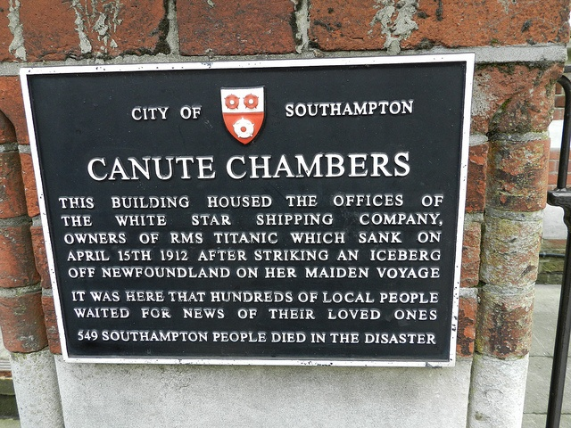 Titanic Rememberance Plaque outside Canute Chambers, Southampton