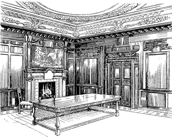 Illustration: Wainscot wood panelling