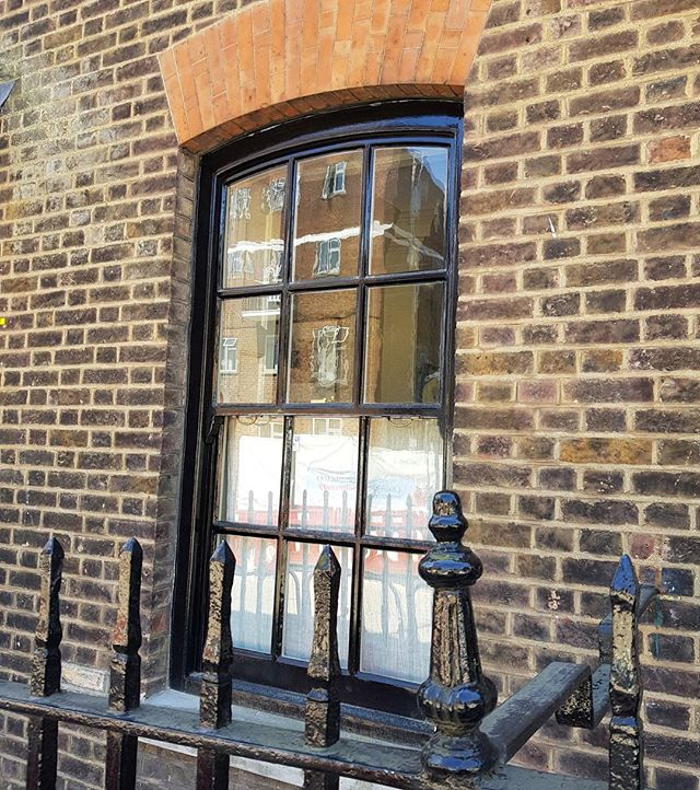 Early Georgian sash window circa 1730. After the fire of London in 1666 building legislation of 1709 stipulated that windows be recessed 4 inches from the face of the building. This was to reduce the spread of fire.