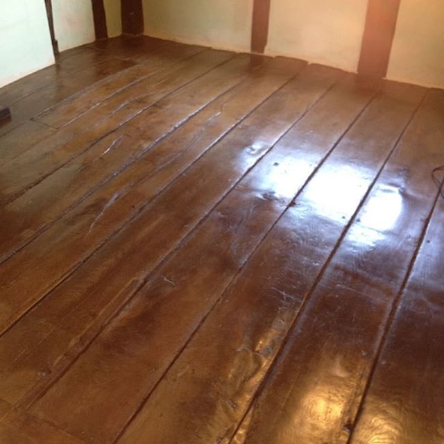 We used earth pigments and water stains to blend the patch repairs then finished using a natural beeswax