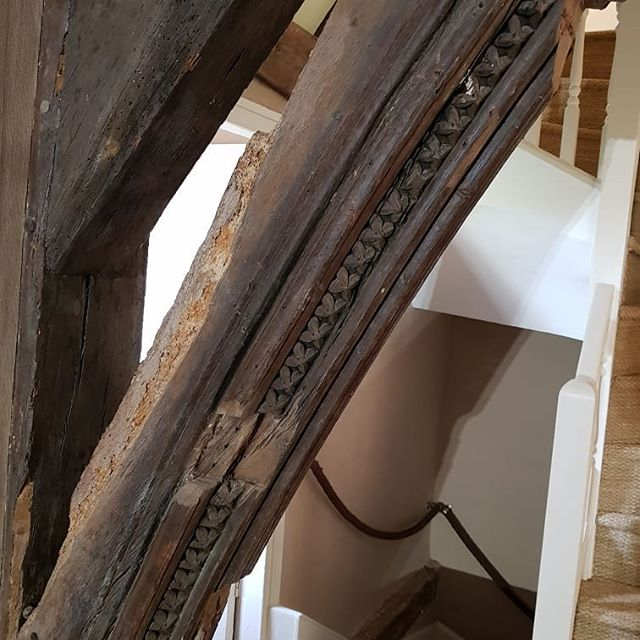 I am working in a Grade II* building today. Look at this amazing 13th century brace with dog tooth moulding!