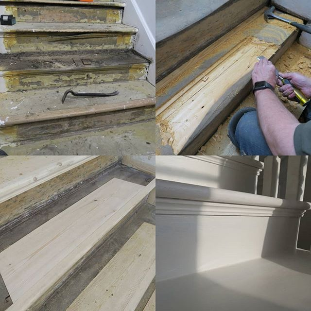 Restoration of Georgian staircase treads circa 1730 - Hampstead London 2018 #conservation #restoration #renovation #stairs #staircase #georgian #hampstead #joinery #architecture #interiordesign