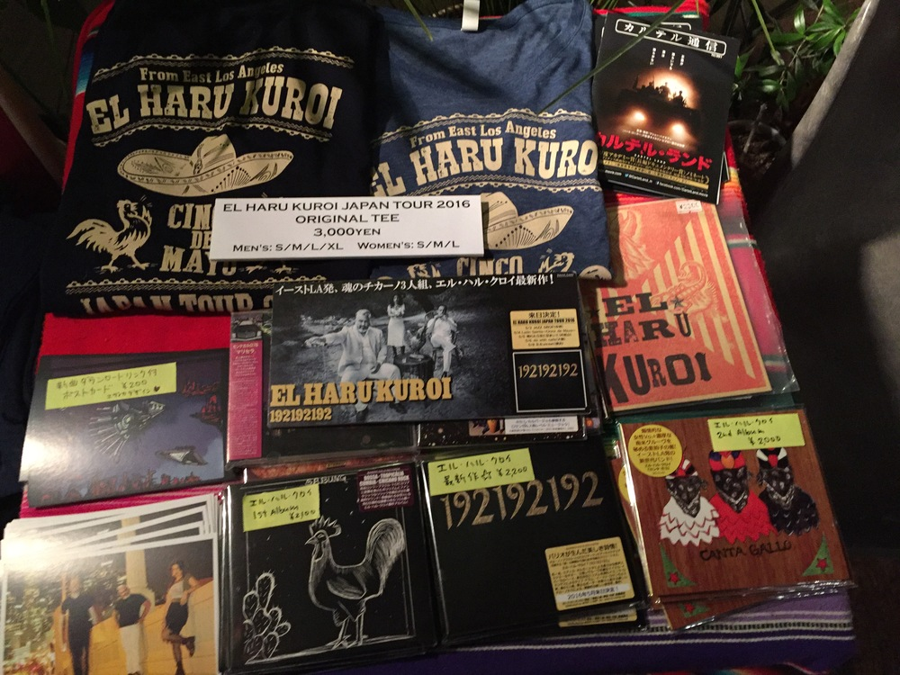 Our merch table with special designed T-shirts from Japan