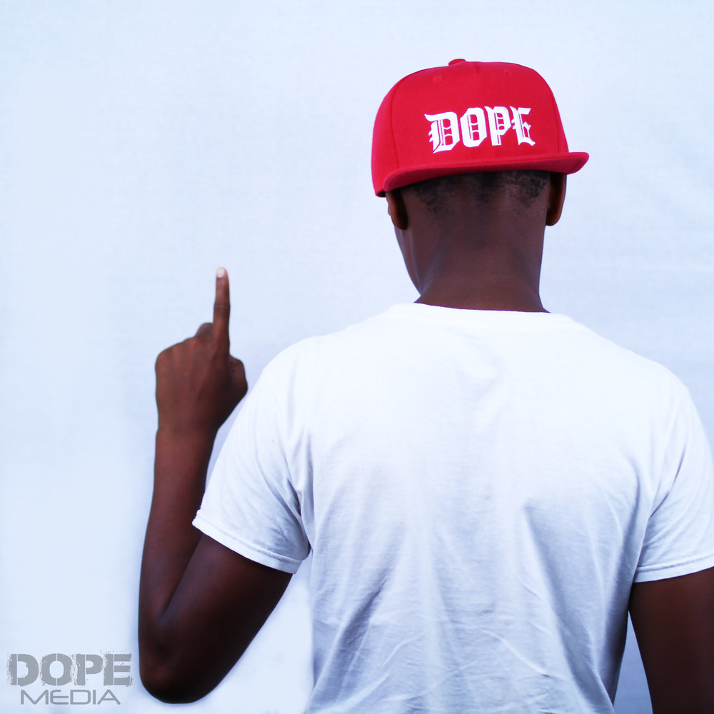 RED GOTHIC DOPE HAT - Red DOPE Snap back with white old english letteringOne Size Fits All