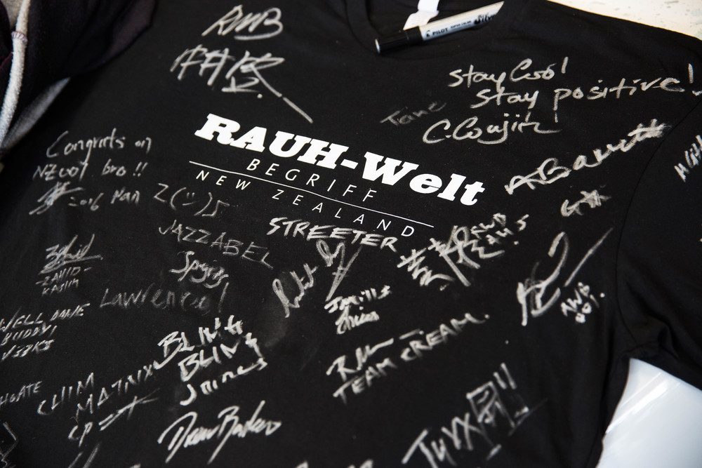 Anthony's RWB New Zealand top signed by everyone at the build.