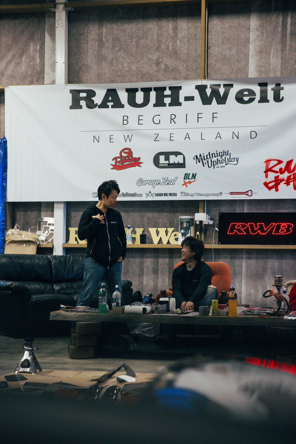 I took this of Toshiya and Nakai-san whilst sitting in New Zealand's first RWB. It was early in the morning before Nakai-san began working on the car.