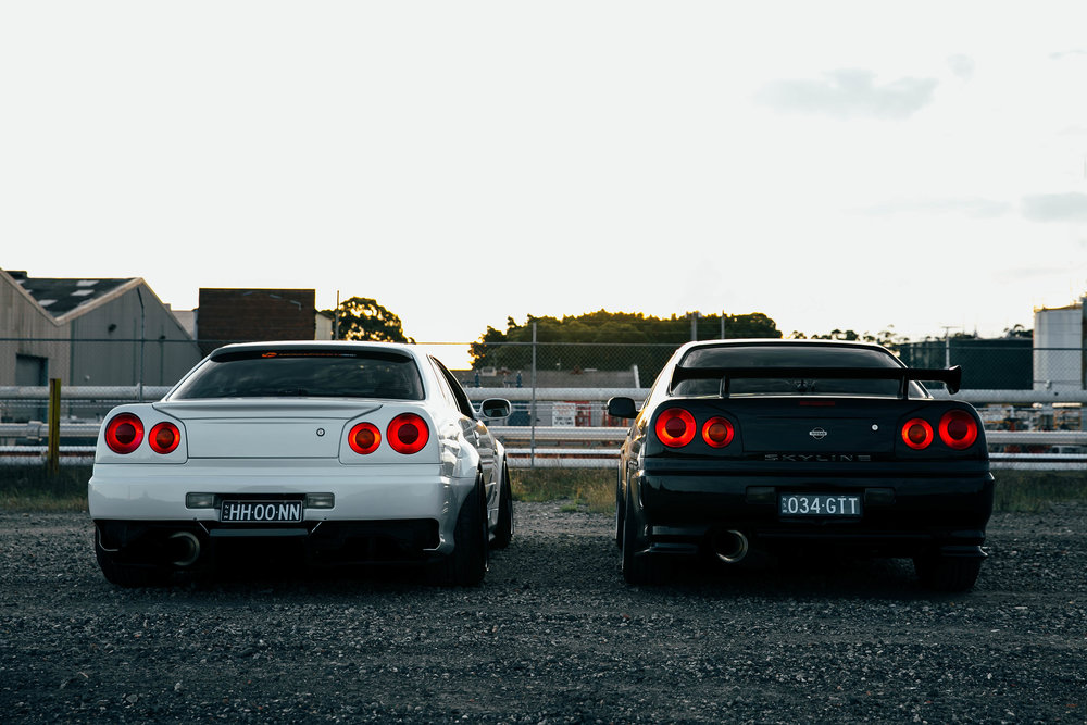 My R34 with Matt's widebody R34 that I did a feature on for my 'What Drives You?' series.
