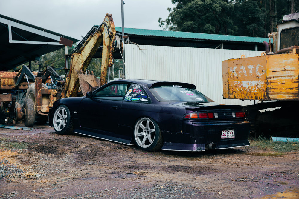 Tom's S14 parked up at Halfway Hangs.