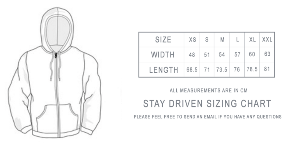 HOODIE SIZE CHART -