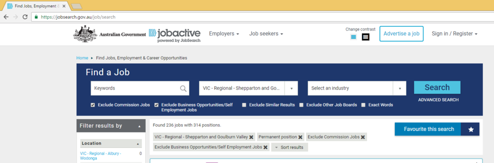 Figure 1: screenshot of the search done on the Jobactive site with resultant number of jobs according to filters
