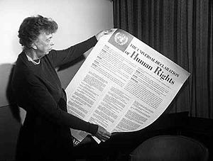 Women were directly involved in drafting the Universal Declaration of Human Rights. Eleanor Roosevelt, pictured here, chaired the committee that ensured gender equality and the advancement of women were enshrined in the document.  Photo credit: United Nations.
