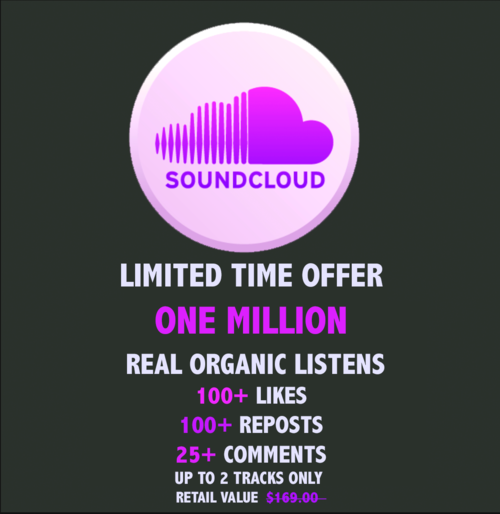 1 Mill Real Listens Plays 100 Likes 100 Reposts 25 Real