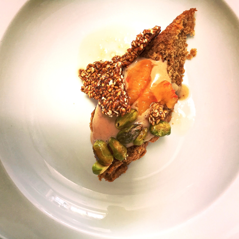 Healthy take on tahinopita- tahini cake with orange tahini sauce, maple pistachio and sesame snap