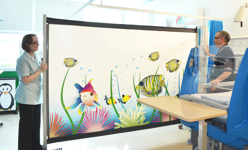 The favourite option among the healthcare facilitators is the printed KwickScreen with an artwork. The soothing and colourful images have a positive impact on subconsciousness, accelerate healing and keep patients engaged and open for conversation. Yet, the smooth screen surface is easy to clean by steaming or wiping.