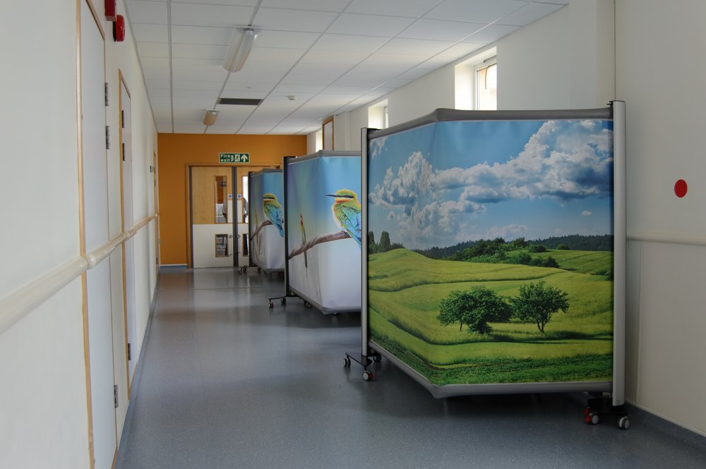 hospital privacy screens, medical privacy screens, portable room partitions