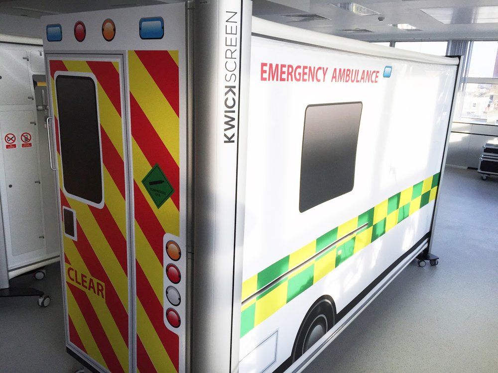 The outer part of 'Simbulance' made with KwickScreen partition screens.