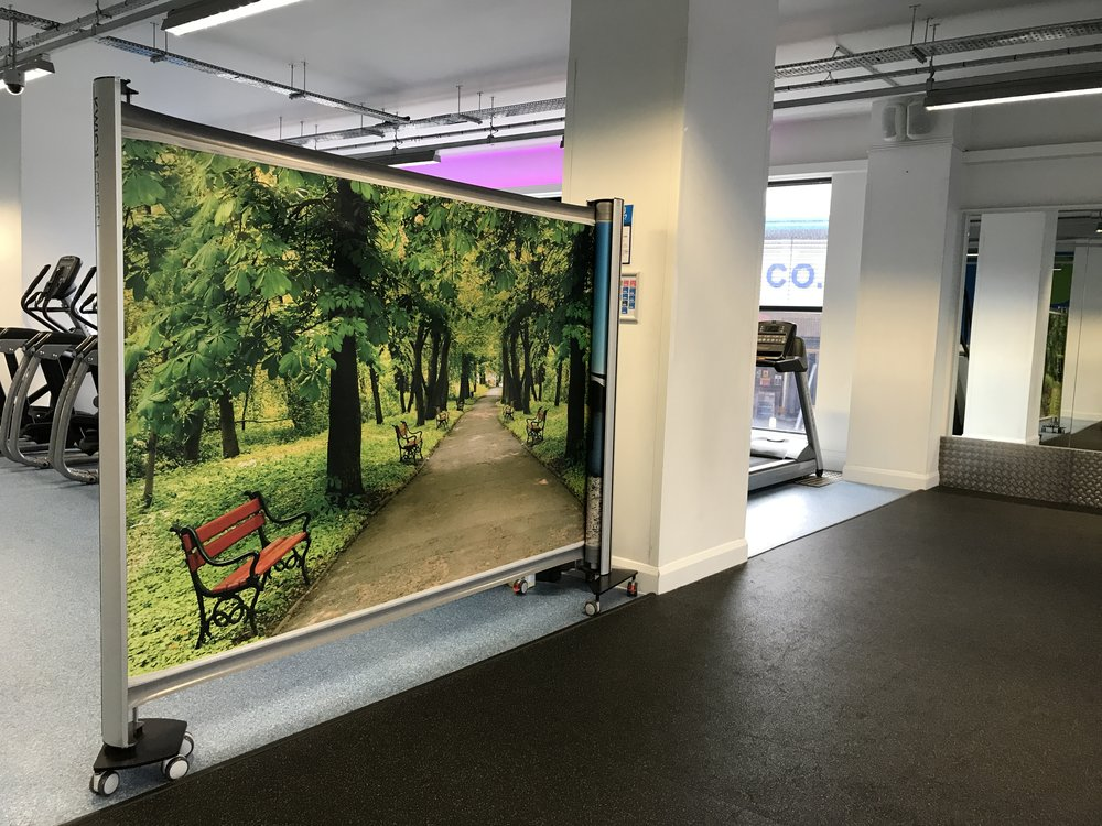 A KwickScreen partition screen at the gym