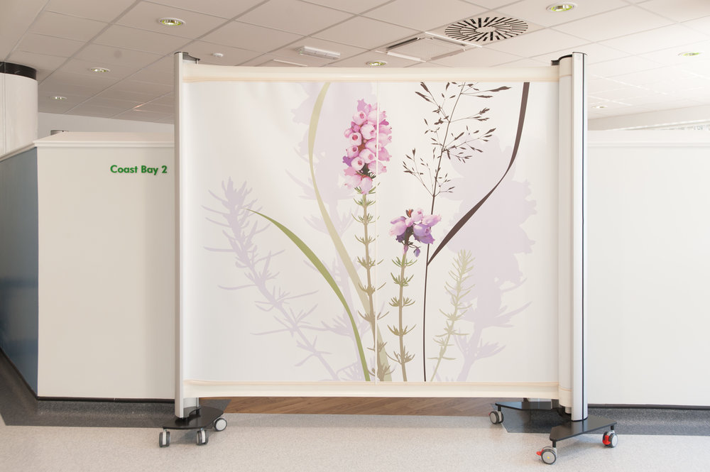 KwickScreens at Woolverstone Centre, Ipswich Hospital, Art Consultancy: Willis Newson, Artist: Julia Allum, Photographer: Clint Randall