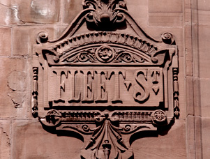 A sign showing Fleet Street.