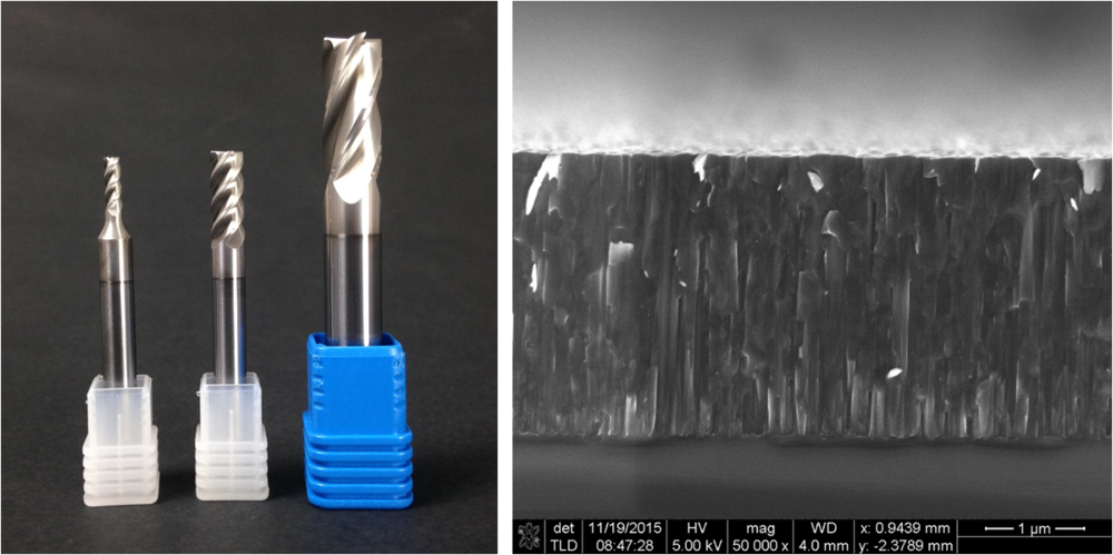 Picture of applied tool coatings  (left) . SEM cross-section of TiB2 surface (right)